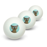 Geometric Cat Siamese Dark Novelty Table Tennis Ping Pong Ball 3 Pack