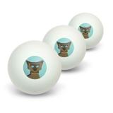 Geometric Cat Siamese Dark Novelty Table Tennis Ping Pong Ball 3 Pack