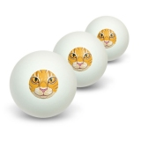 Orange Tabby Cat Face - Pet Kitty Novelty Table Tennis Ping Pong Ball 3 Pack