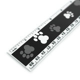 Paw Prints Black and White Pattern 12 Inch Standard and Metric Plastic Ruler