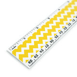 Yellow Chevrons Pattern 12 Inch Standard and Metric Plastic Ruler