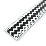 Black Chevrons Pattern 12 Inch Standard and Metric Plastic Ruler