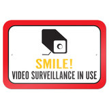"Smile Video Surveillance In Use 9"" x 6"" Metal Sign"