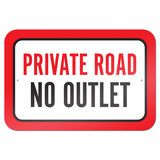 "Private Road No Outlet 9"" x 6"" Metal Sign"