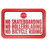 "No Skateboarding No Rollerblading No Bicycle Riding 9"" x 6"" Metal Sign"