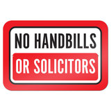 "No Handbills Or Solicitors 9"" x 6"" Metal Sign"