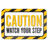 "Caution Watch Your Step 9"" x 6"" Metal Sign - No. 1"