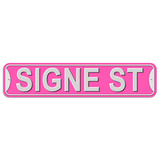 Signe Street - Pink - Plastic Wall Sign