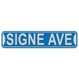 Signe Avenue - Blue - Plastic Wall Sign