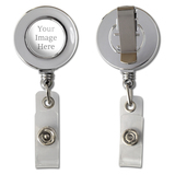 Custom Retractable Reel Chrome Badge ID Card Holder