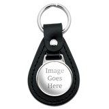 Custom Black Leather Keychain
