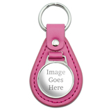 Custom Pink Leather Keychain