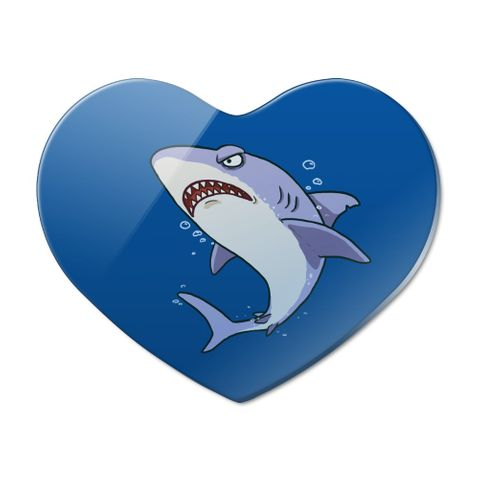 Great White Shark Cartoon in Ocean Heart Acrylic Fridge Refrigerator Magnet