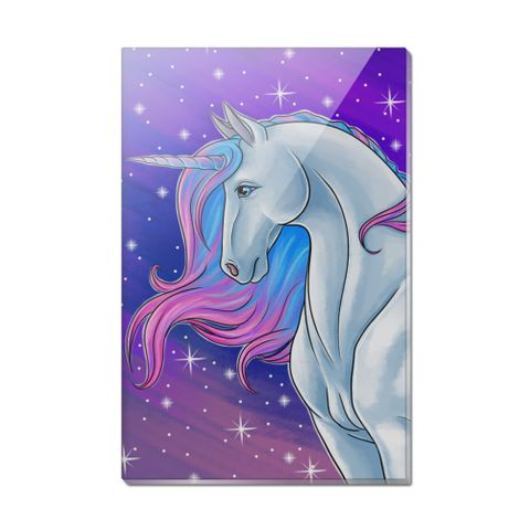 Majestic Unicorn Pink Purple Blue Rectangle Acrylic Fridge Refrigerator Magnet