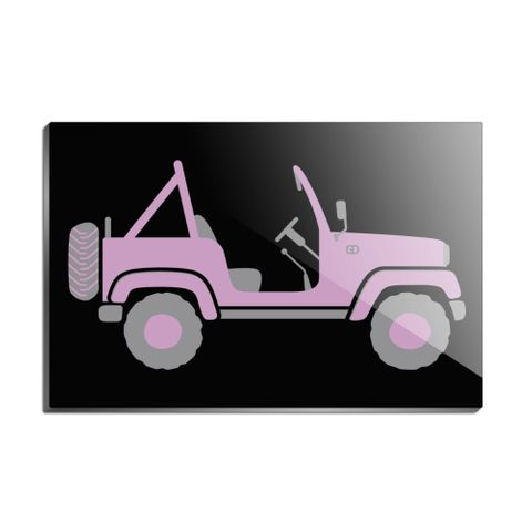Pink 4x4 Truck Off-Road Rectangle Acrylic Fridge Refrigerator Magnet
