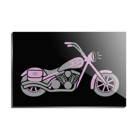 Pink Bike Motorcycle Chopper Rectangle Acrylic Fridge Refrigerator Magnet