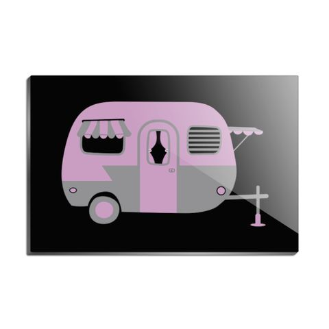 Pink Camper Trailer Camping Rectangle Acrylic Fridge Refrigerator Magnet