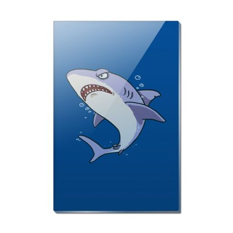 Great White Shark Cartoon in Ocean Rectangle Acrylic Fridge Refrigerator Magnet