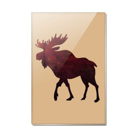Moose Red Forest Rectangle Acrylic Fridge Refrigerator Magnet