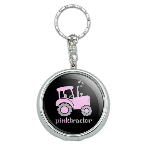 Pink Farm Tractor Logo Portable Travel Size Pocket Purse Ashtray Keychain with Cigarette Holder