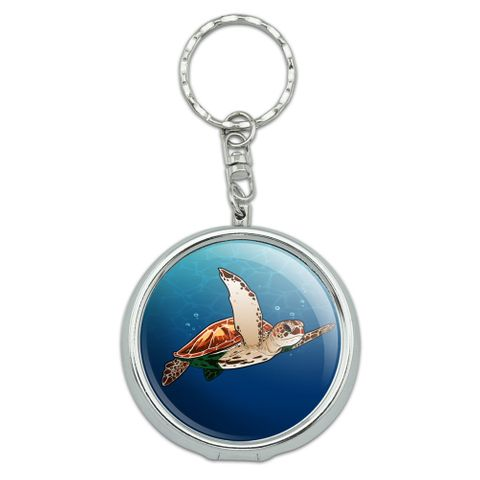 Sea Turtle Swimming in Ocean Portable Travel Size Pocket Purse Ashtray Keychain with Cigarette Holder