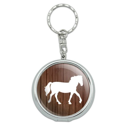 Horse Silhouette Cowboy Western Portable Travel Size Pocket Purse Ashtray Keychain with Cigarette Holder