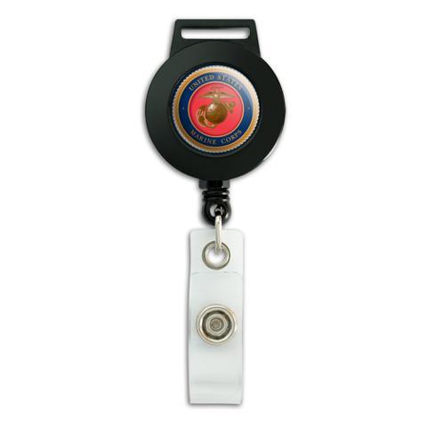 Marine Corps USMC Emblem Officially Licensed Lanyard Retractable Reel Badge ID Card Holder