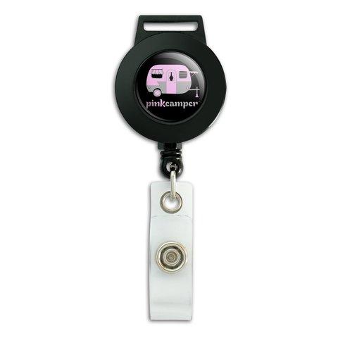 Pink Camper Trailer Camping Logo Lanyard Retractable Reel Badge ID Card Holder