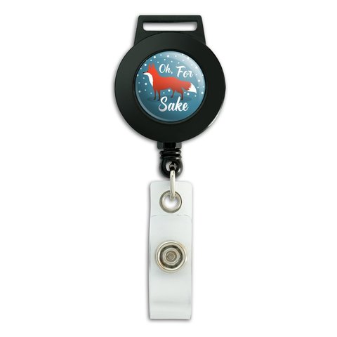 Oh For Fox Sake Funny on Teal Lanyard Retractable Reel Badge ID Card Holder