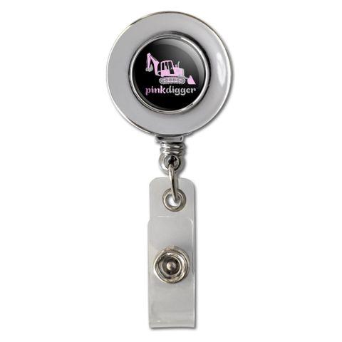 Pink Digger Backhoe Tractor Front End Loader Logo Retractable Reel Chrome Badge ID Card Holder Clip