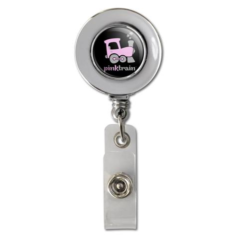 Pink Train Engine Steam Locomotive Logo Retractable Reel Chrome Badge ID Card Holder Clip