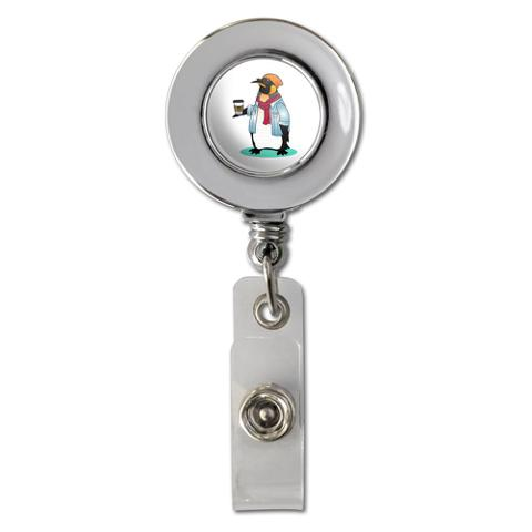 Cool Penguin Hipster with Coffee Retractable Reel Chrome Badge ID Card Holder Clip
