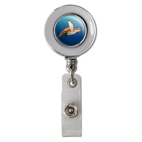 Sea Turtle Swimming in Ocean Retractable Reel Chrome Badge ID Card Holder Clip