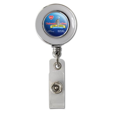 Narwhal Unicorn of the Sea Retractable Reel Chrome Badge ID Card Holder Clip
