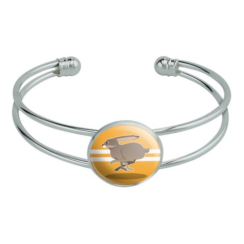 Jackrabbit Running Racing Novelty Silver Plated Metal Cuff Bangle Bracelet