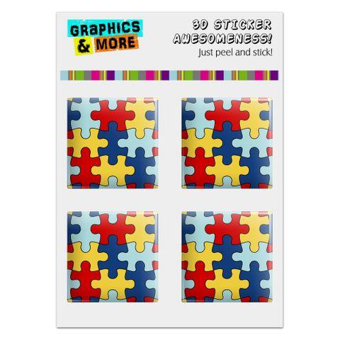 "Autism Awareness Diversity Puzzle Pieces Computer Case Modding Badge Emblem Resin-Topped 1"" Stickers - Set of 4"