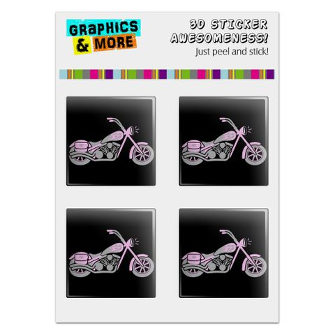 "Pink Bike Motorcycle Chopper Computer Case Modding Badge Emblem Resin-Topped 1"" Stickers - Set of 4"