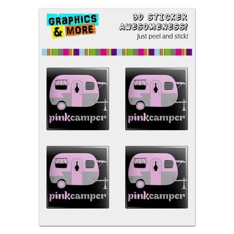 "Pink Camper Trailer Camping Logo Computer Case Modding Badge Emblem Resin-Topped 1"" Stickers - Set of 4"