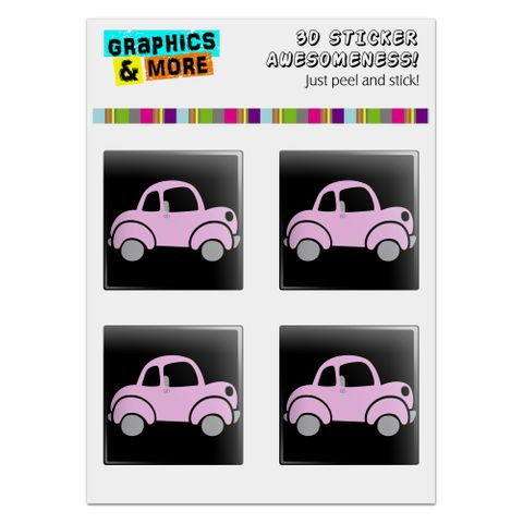 "Pink Car Computer Case Modding Badge Emblem Resin-Topped 1"" Stickers - Set of 4"