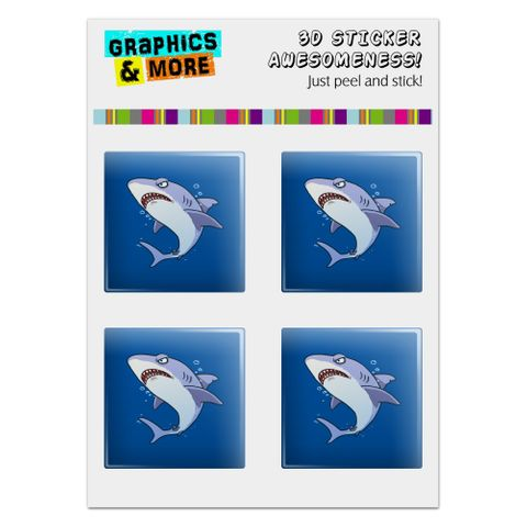 """Great White Shark Cartoon in Ocean Computer Case Modding Badge Emblem Resin-Topped 1"""" Stickers - Set of 4"""