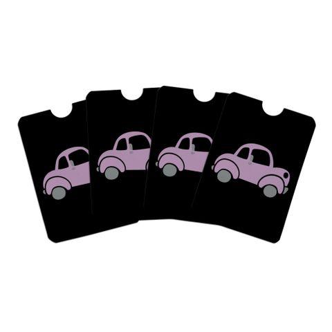 Pink Car Credit Card RFID Blocker Holder Protector Wallet Purse Sleeves Set of 4