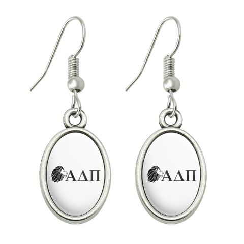 Alpha Delta Pi Sorority Lion Greek Letters Black Officially Licensed Novelty Dangling Drop Oval Charm Earrings