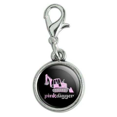 Pink Digger Backhoe Tractor Front End Loader Logo Antiqued Bracelet Pendant Zipper Pull Charm with Lobster Clasp