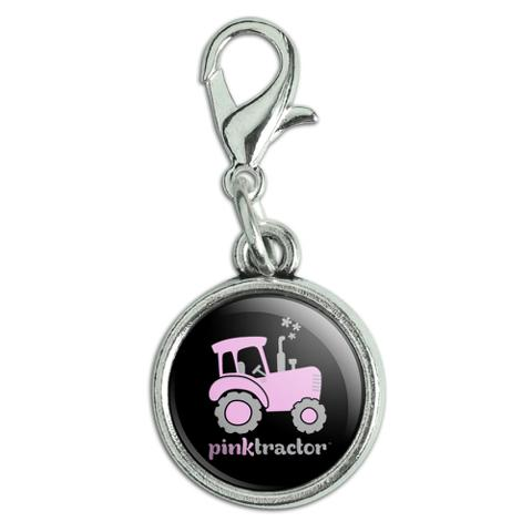Pink Farm Tractor Logo Antiqued Bracelet Pendant Zipper Pull Charm with Lobster Clasp