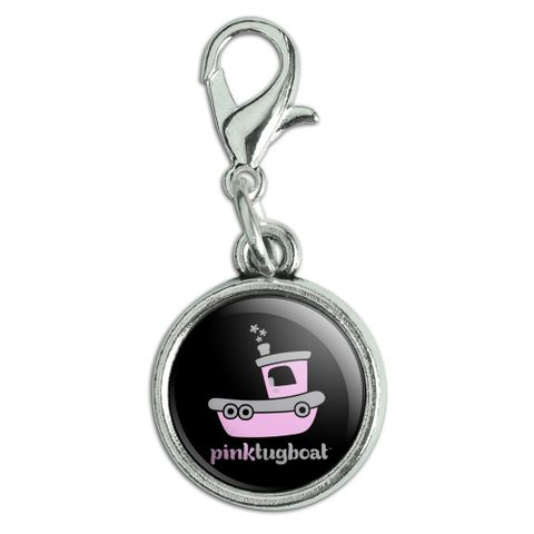 Pink Tugboat Tug Boat Logo Antiqued Bracelet Pendant Zipper Pull Charm with Lobster Clasp