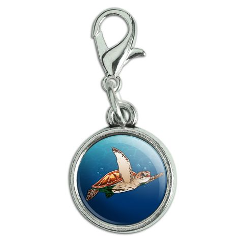 Sea Turtle Swimming in Ocean Antiqued Bracelet Pendant Zipper Pull Charm with Lobster Clasp