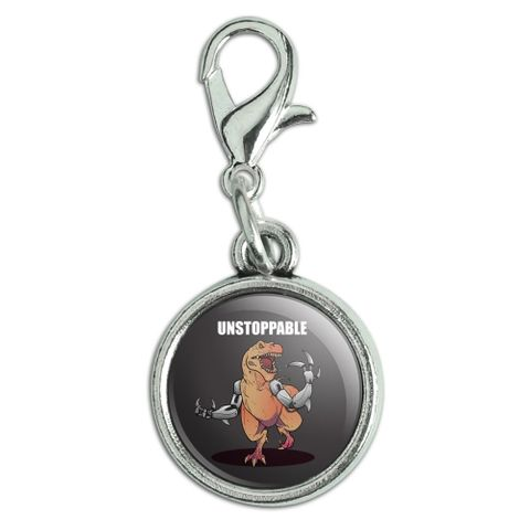 Unstoppable Tyrannosaurus Rex Dinosaur Antiqued Bracelet Pendant Zipper Pull Charm with Lobster Clasp