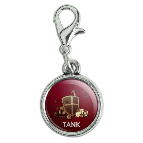 Tank Warrior RPG MMORPG Class Role Playing Game Antiqued Bracelet Pendant Zipper Pull Charm with Lobster Clasp