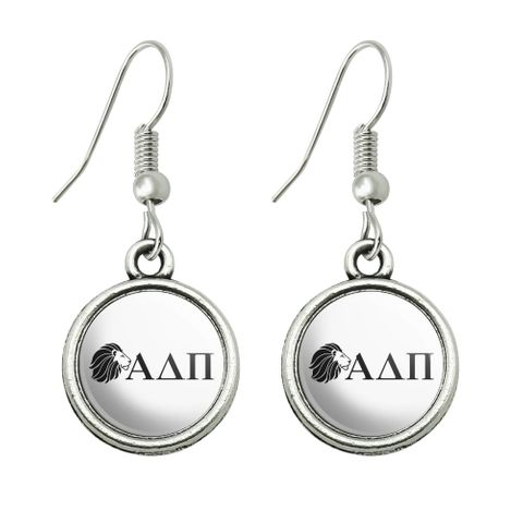 Alpha Delta Pi Sorority Lion Greek Letters Black Officially Licensed Novelty Dangling Drop Charm Earrings