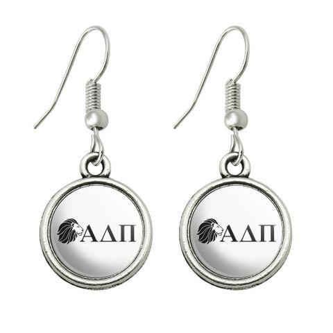 Alpha Delta Pi Sorority Lion Greek Letters Black Officially Licensed Novelty Dangling Drop Charm Earrings